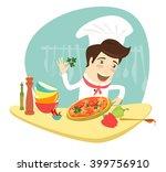 illustration funny chef... | Shutterstock . vector #399756910