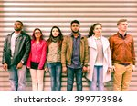 multiracial serious people... | Shutterstock . vector #399773986