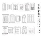 set of cute hand drawn windows... | Shutterstock .eps vector #399799396