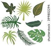 tropical leaves vector set | Shutterstock .eps vector #399802294