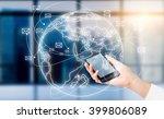 hand with smartphone  globe... | Shutterstock . vector #399806089