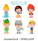 set of cute kids wearing story... | Shutterstock .eps vector #399811699