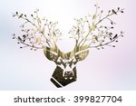 the deer head with forest... | Shutterstock . vector #399827704