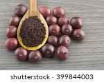 berries and acai powder  ... | Shutterstock . vector #399844003