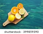 oranges and lemons. healthy... | Shutterstock . vector #399859390