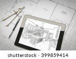 computer tablet showing kitchen ... | Shutterstock . vector #399859414