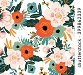 Stock vector flower seamless pattern vintage style 399862339