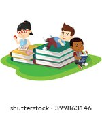 reading hobbies activity | Shutterstock .eps vector #399863146