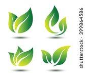 green leaf eco symbol set ... | Shutterstock .eps vector #399864586
