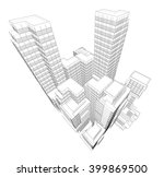 perspective 3d wireframe of... | Shutterstock .eps vector #399869500