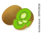 Whole Kiwi Fruit And His Slice...
