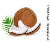 whole and pieces coconut with... | Shutterstock .eps vector #399910078