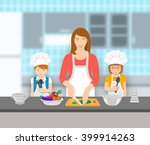 mother and kids cooking...   Shutterstock .eps vector #399914263