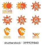 uv logo   spf with orange color ... | Shutterstock .eps vector #399929860