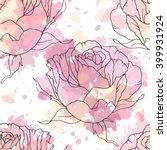 Linen Hand Drawn Rose Seamless...