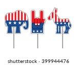 elephant and donkey. symbols of ... | Shutterstock .eps vector #399944476