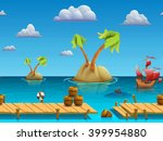 seamless cartoon sea landscape  ...