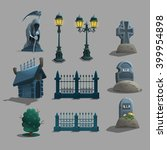 set of gothic cemetery... | Shutterstock .eps vector #399954898