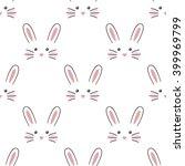 Cute Rabbit Face. Seamless...