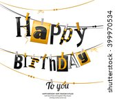 birthday card. clothespin and... | Shutterstock .eps vector #399970534
