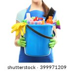 young woman holding cleaning... | Shutterstock . vector #399971209