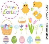 set of cute easter elements... | Shutterstock .eps vector #399977659