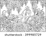 coloring page of bird on a... | Shutterstock .eps vector #399985729