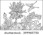coloring page with flowers and... | Shutterstock .eps vector #399985750