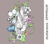 hand drawn ink floral ornament... | Shutterstock .eps vector #399990139