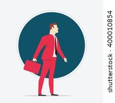 Businessman in red suit. Flat style vector illustration. - stock vector