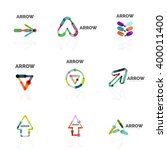 set of linear arrow abstract... | Shutterstock .eps vector #400011400