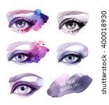 hand drawn watercolor eyes | Shutterstock . vector #400018930