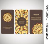 set of ornamental cards  flyers ... | Shutterstock .eps vector #400040323