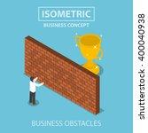 isometric businessman standing... | Shutterstock .eps vector #400040938