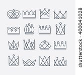 set of line crown icons.... | Shutterstock .eps vector #400041028