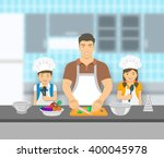 father and kids cooking... | Shutterstock .eps vector #400045978
