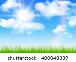 sunny sky with vector clouds ... | Shutterstock .eps vector #400048339