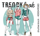 vector set with trendy girls | Shutterstock .eps vector #400049080