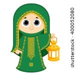 girl celebrating ramadan and... | Shutterstock .eps vector #400052080