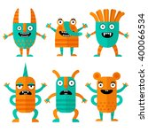 set of cheerful and terrible... | Shutterstock .eps vector #400066534