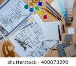 top view of artistic worktable... | Shutterstock . vector #400073290