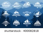 Set of vector mountain and outdoor adventures logo on mountain landscape background. Travel icons for tourism organizations, outdoor events and camping leisure. | Shutterstock vector #400082818