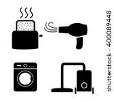 toaster  hair dryer  washing ... | Shutterstock .eps vector #400089448