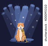red cat singing into a... | Shutterstock .eps vector #400095310