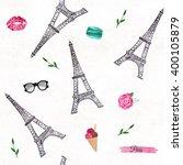 watercolor paris pattern.... | Shutterstock . vector #400105879