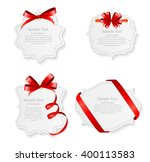 card with red ribbon and bow... | Shutterstock . vector #400113583