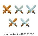 set of cartoon crossed swords... | Shutterstock .eps vector #400121353