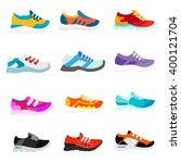collection sneakers in flat... | Shutterstock .eps vector #400121704