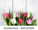 bouquet of fresh spring tulips  ... | Shutterstock . vector #400124284