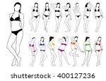 set silhouettes of beautiful... | Shutterstock .eps vector #400127236